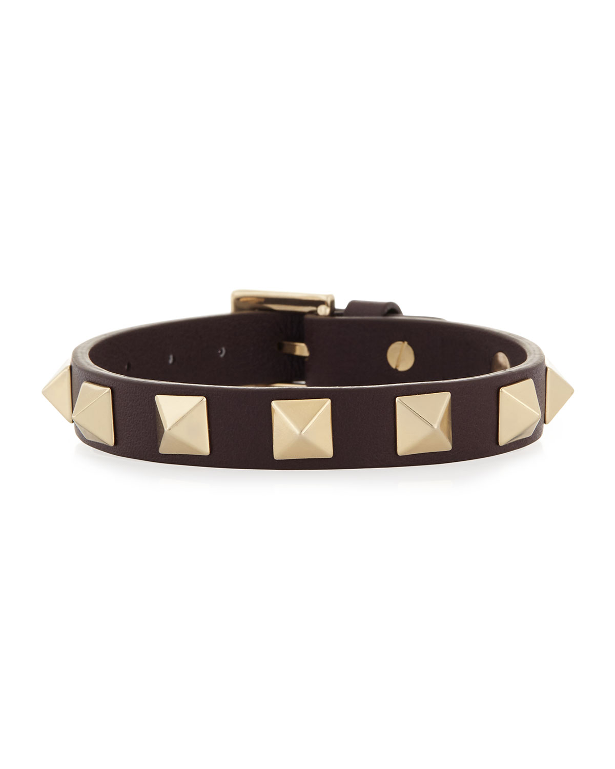 Small Rockstud Leather Bracelet, Size: S, BLACK - Valentino