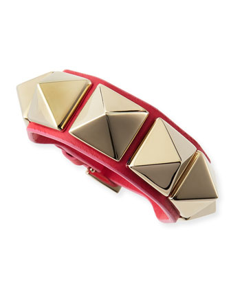 Medium Rockstud Leather Bracelet, Blush