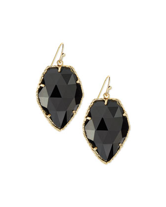 Corley Earrings, Black Glass