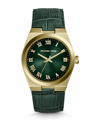 Mid-Size Green Leather Channing Three-Hand Watch