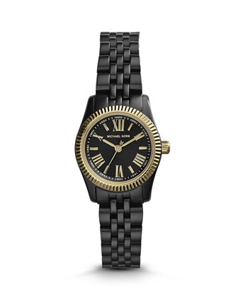 Petite Black Stainless Steel Lexington Three-Hand Watch