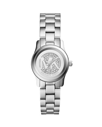 Petite Silver Color Stainless Steel Runway Three-Hand Glitz Watch