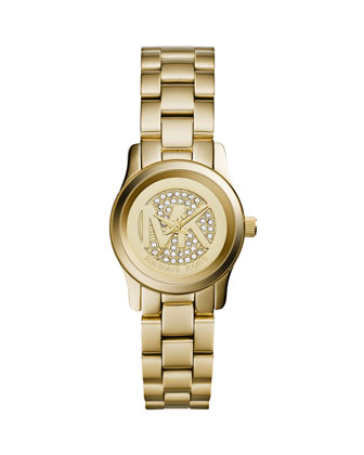 Petite Golden Stainless Steel Runway Three-Hand Glitz Watch