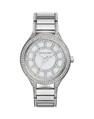 Mid-Size Silver Color Stainless Steel Kerry Three-Hand Glitz Watch
