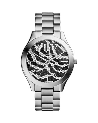 Mid-Size Silver Color Stainless Steel Runway Three-Hand Glitz Watch