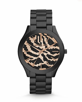 Mid-Size Black Stainless Steel Runway Three-Hand Glitz Watch
