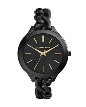 MId-Size Black Stainless Steel Slim Runway Three-Hand Watch