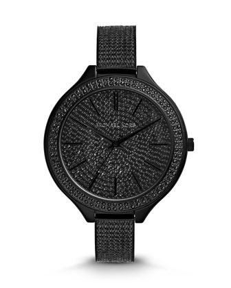 Black Stainless Steel Slim Runway Three-Hand Glitz Watch