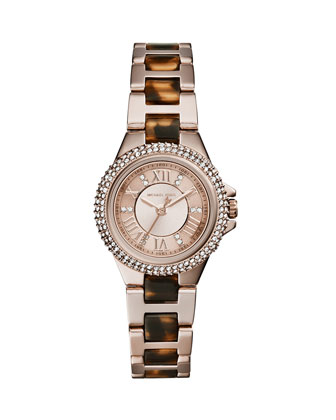 Petite Rose Golden Stainless Steel Three-Hand Glitz Watch