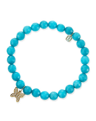 8mm Faceted Peacock Jade Beaded Bracelet with 14k Gold/Diamond Butterfly Charm