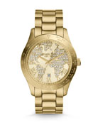 Mid-Size Golden Stainless Steel Layton Three-Hand Glitz Watch