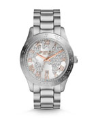 Mid-Size Silver Color Stainless Steel Layton Glitz Watch