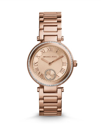 Mini Rose Golden Stainless Steel Skylar Three-Hand Glitz Watch