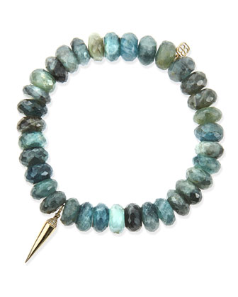 8mm Faceted Shade Moss Aqua Beaded Bracelet with 14k Gold/Diamond Spike ...