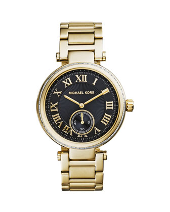 Mid-Size Golden Stainless Steel Skylar Three-Hand Glitz Watch