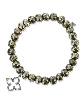 8mm Faceted Champagne Pyrite Beaded Bracelet with 14k Gold/Diamond Moroccan ...