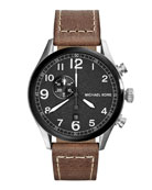 Hangar Three-Hand Watch with Leather Strap