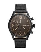 Oversize Black Leather Hangar Three-Hand Watch