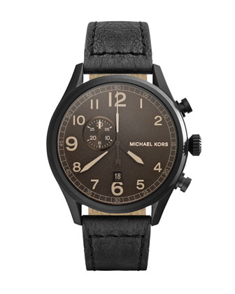 Oversize Black Leather Hangar Three-Hand Watch
