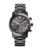 Mid-Size Gunmetal Stainless Steel Pennant Chronograph Watch