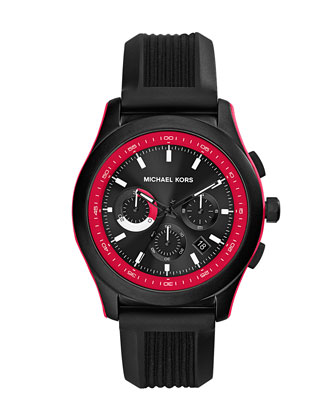 Mid-Size Black Silicone Outrigger Chronograph Watch