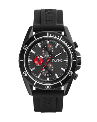 Oversize Black Silicone Jetmaster Chronograph Watch