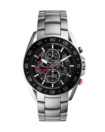Oversize Silver Color Stainless Steel Jetmaster Chronograph Watch