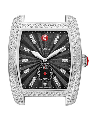 Urban Diamond Stainless Black-Dial Watch Head