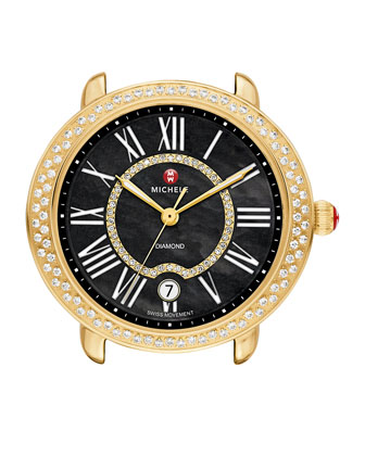 Serein 16mm Diamond Gold Plated Watch Head, Black