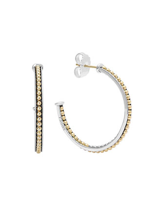 35mm Sterling Silver & 18k Enso Hoop Earrings