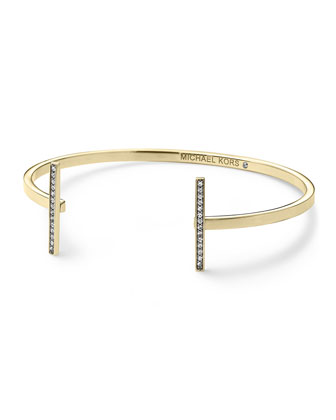 Pave Bar Open Cuff, Golden