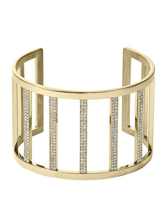 Wide Pave Bar Cuff, Golden