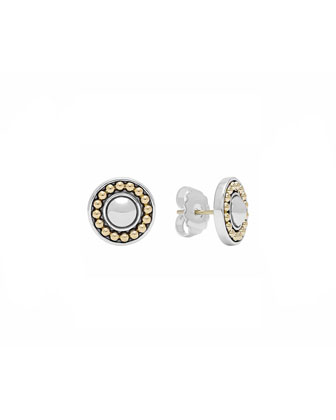 12mm Sterling Silver & 18k Enso Stud Earrings