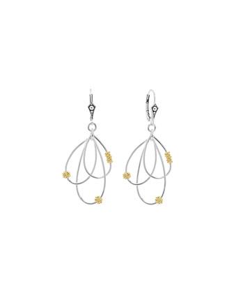 Silver & 18k Gold-Caviar Superfine Drop Earrings
