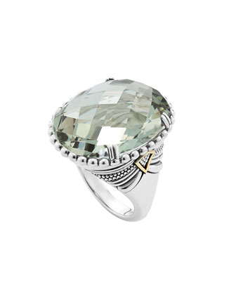 Silver Green Amethyst Ring with 18k Gold