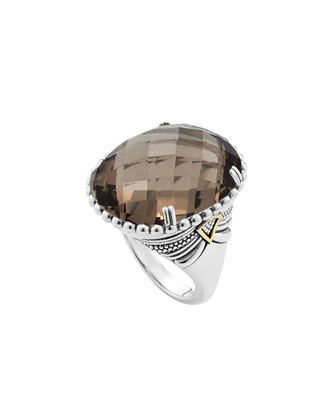 Silver Smoky Quartz Ring with 18k Gold
