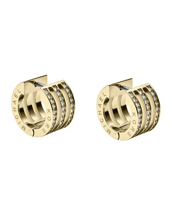 Pave Huggie Earrings, Golden