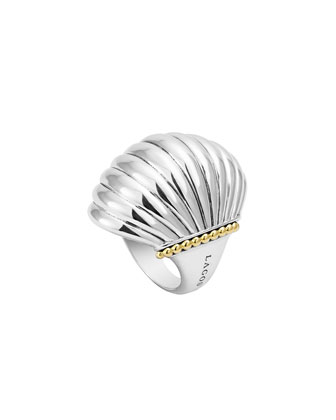 Silver Fluted Statement Ring with 18k