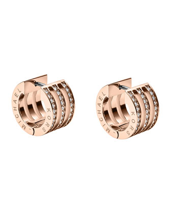Pave Huggie Earrings, Rose Golden