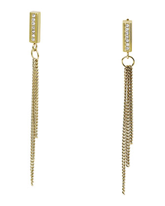 Curb Chain Drop Earrings, Golden