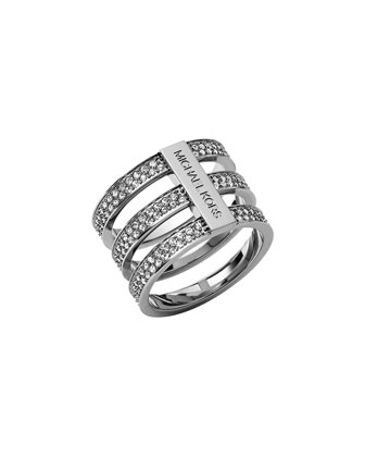 Triple-Stack Pave Ring, Silver Color
