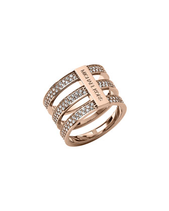 Triple-Stack Pave Ring, Rose Golden