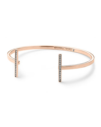 Pave Bar Open Cuff, Rose Golden