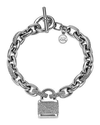 Pave Padlock Bracelet, Silver Color