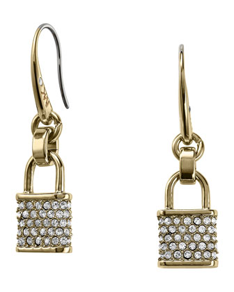 Pave Padlock Drop Earrings, Golden