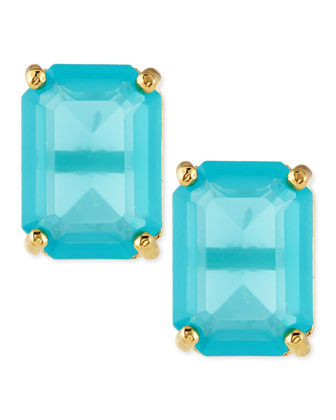 emerald-cut crystal earrings, turquoise