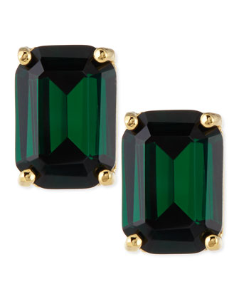 emerald-cut crystal earrings, green