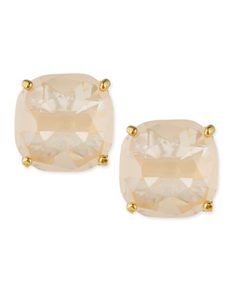 square-cut crystal earrings, light pink