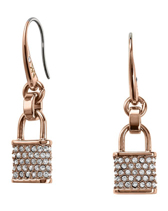 Pave Padlock Drop Earrings, Rose Golden