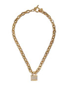 Pave Padlock Toggle Necklace, Golden